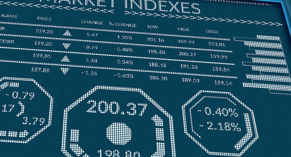 Stock market indexes or forex trade data on pixels screen. Perspective view of display monitor or information table with graphs, charts, indexes, diagrams and symbols. Close up macro business concept