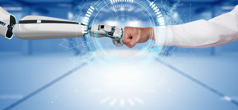 Businessman Robot Hands Fists Connection HUD Network